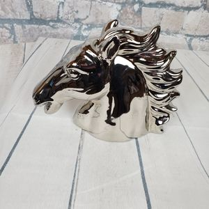 Polished Chrome 3D Stallion Head Sculpture Decor